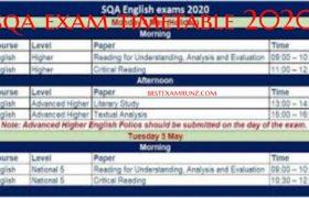 SQA Exam Timetable